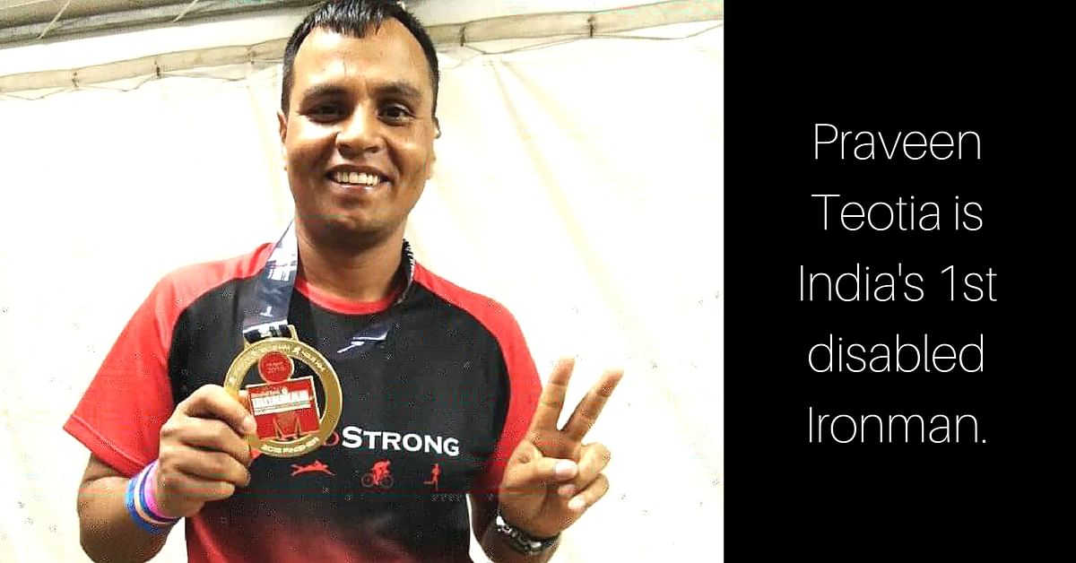 Praveen Teotia is India's 1st disabled Ironman. Image Courtesy: Facebook.