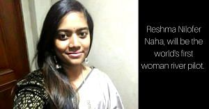 Reshma Nilofer Naha, will be the world's first woman river pilot. Image Courtesy: Twitter.