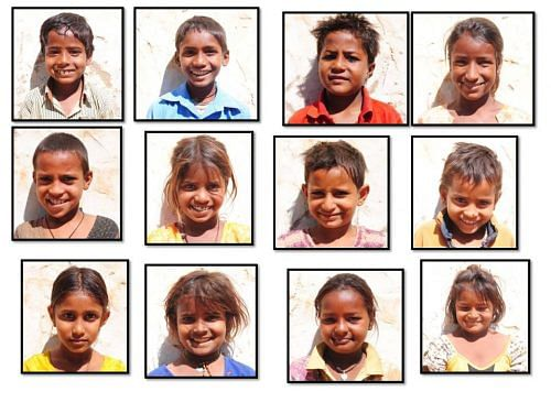Passport size photos for SKO kids to be admitted through RTE in various private schools across Pilani in 2013.