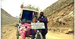 In the cold barren desert of Ladakh. (Source: Facebook)