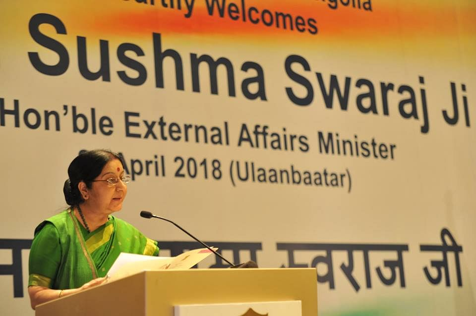 External Affairs Minister Sushma Swaraj addressing a function in Ulaanbaatar yesterday. (Source: Facebook/MEA)