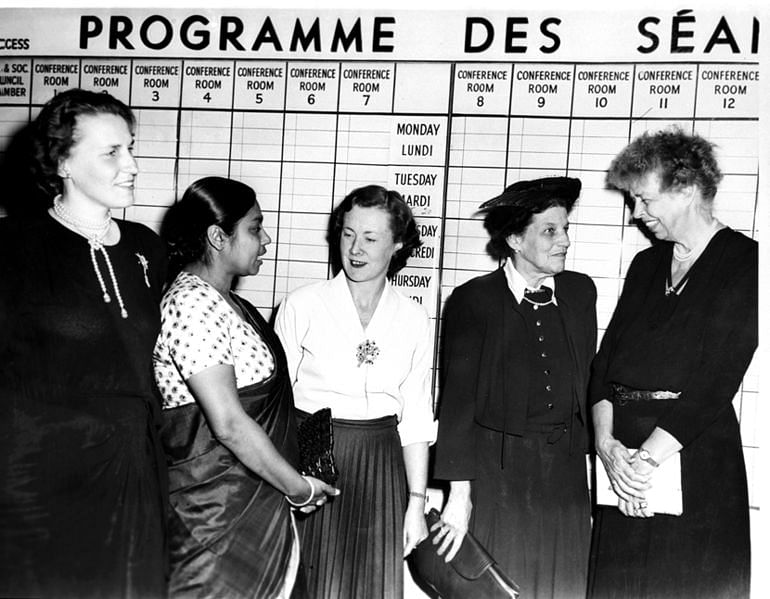 (Left to Right) Ulla Lindstrom, member fo the First chamber of Parliament, Sweden; Sucheta Kripalani, Member of the Constituent Assembly, India; Barbara Castle, Member of Parliament; Cairine Wilson, Senator, Canada and Franklin D. Roosevelt, United States of America. These women were attending the United Nations General Assembly session in 1949. (Source: Wikimedia Commons)