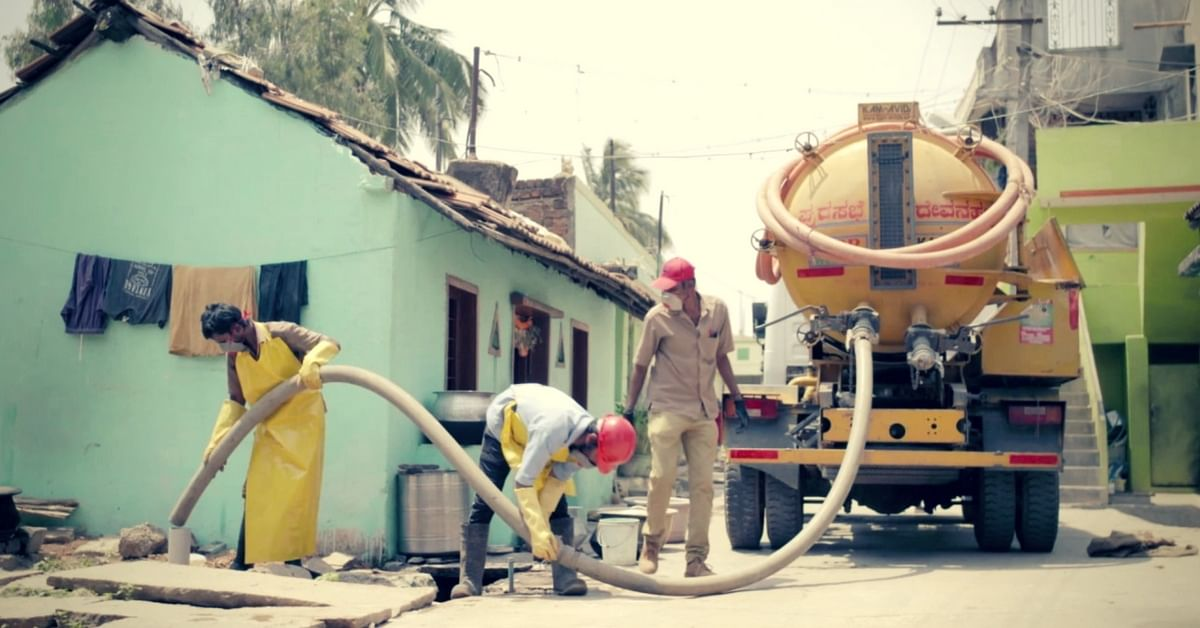 A private operator extracting feacal sludge from the septic tank before taking it away to the FSTP. (Source: YouTube)