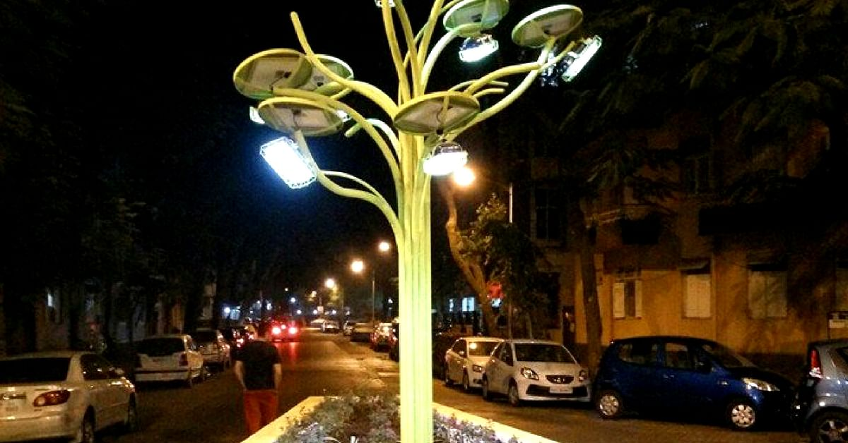 A solar tree, harnesses the sun's rays, turning it into usable energy in Coimbatore. Image Credit: Twitter