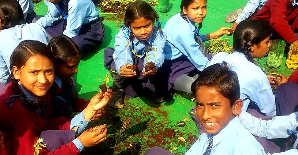 In the Gurugram government school, children are being taught to be sensitive to the environment. Image Credit: Give Me TREES Trust