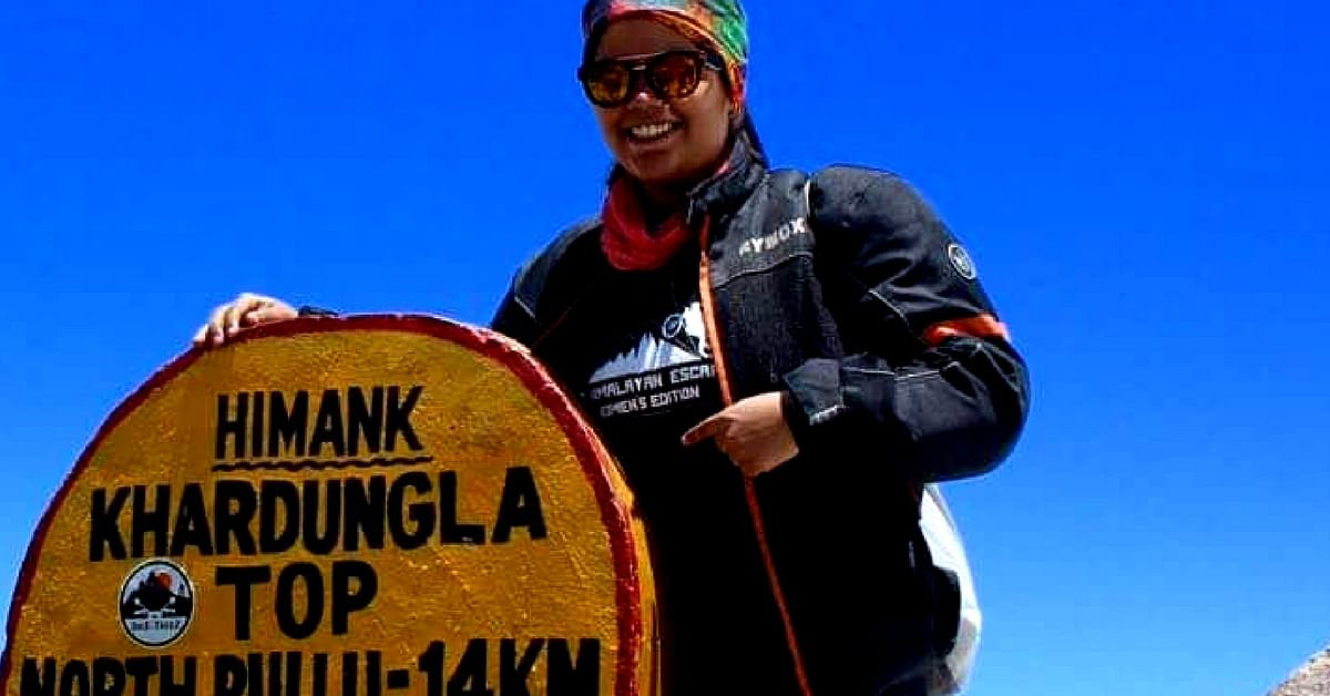 It was during the course of her trip to Ladakh, that Riya learnt of the record of being the youngest female biker at Khardung-La. Image Credit: Riya Yadav.