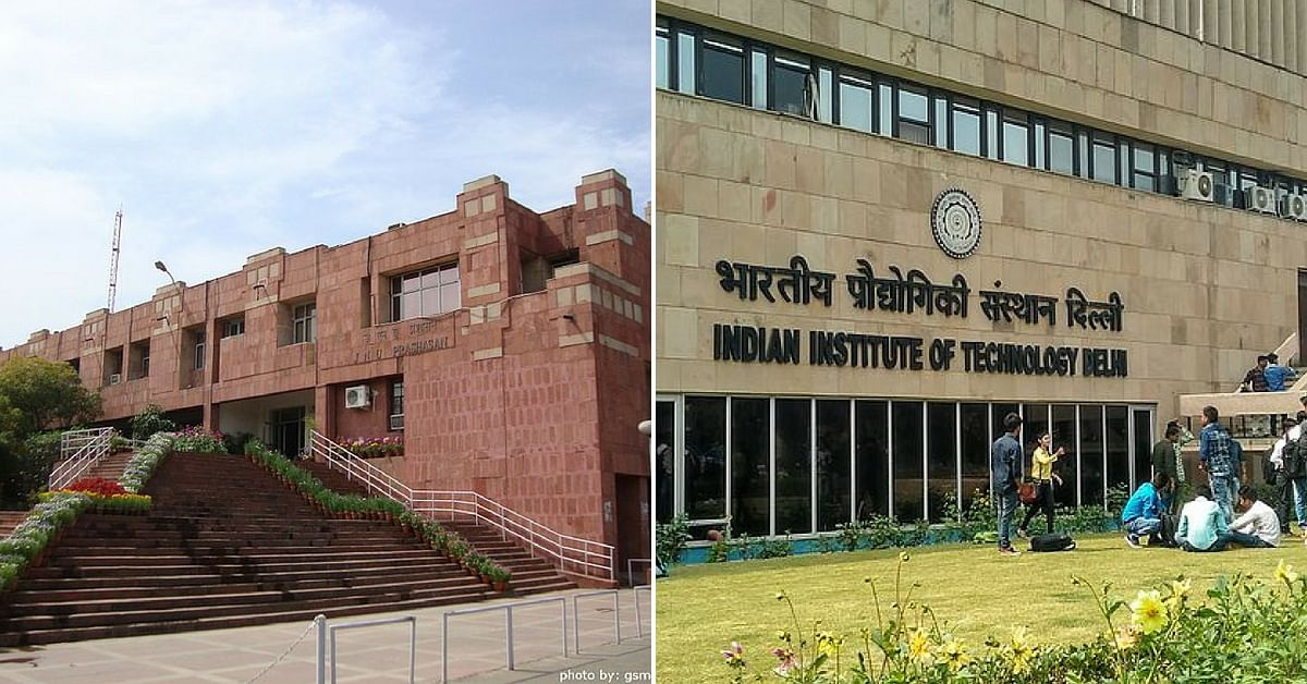 JNU (left), and IIT Delhi (right) and other universities fall on this route, earning it the nickname 'Knowledge Corridor' Representative image only. Image Credit:- Asad K electro(Right) & गंगा सहाय मीणा (Left)