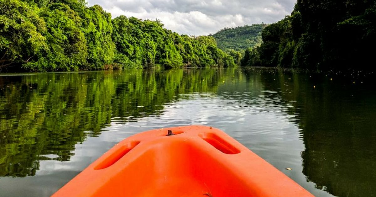 Kayaking is fun, and Sushant decided to explore the beauty of Karnataka with his kayak. Image Credit: Kayakboy