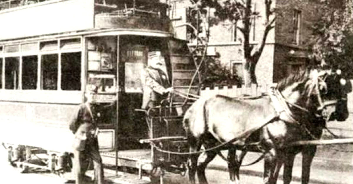 Kolkata's tryst with the tram began with a horse-drawn system in its initial stages. Image Courtesy: Facebook.