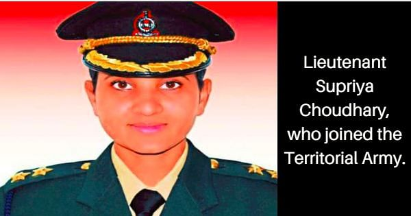 Lt Supriya Choudhary, who joined the Territorial Army. Image Credit: Facebook.