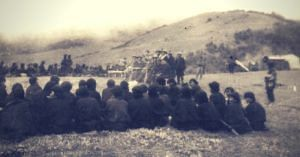 Major Khathing Speaking to Tibetan officials and villagers In Tawang in April, 1951. (Source: Claude Arpi)