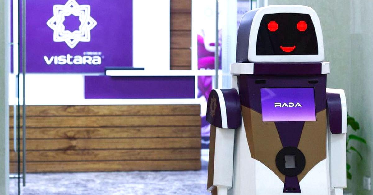 'RADA' will greet customers, and provide passenger information at Delhi Airport. Image Credit: Faizan Haider (Twitter)