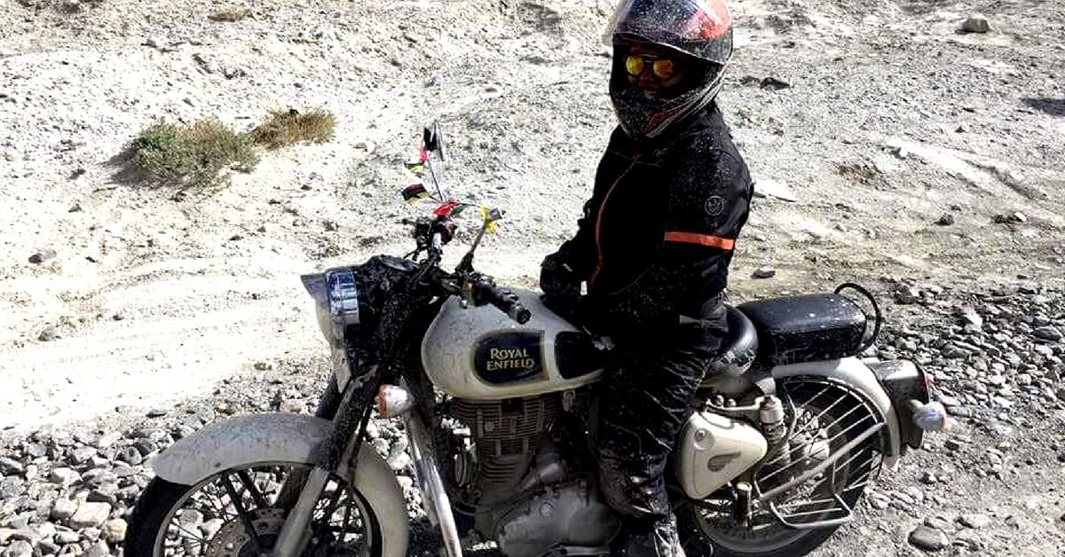 Riding in the mountains in Ladakh comes with its fair share of challenges, which Riya faced head on. Image Credit: Riya Yadav