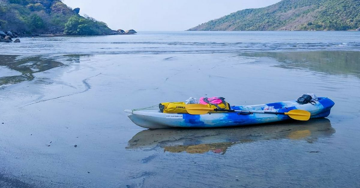 Sushant travelled all the way to Gokarna, Karnataka, to kayak there. Image Credit: Kayakboy
