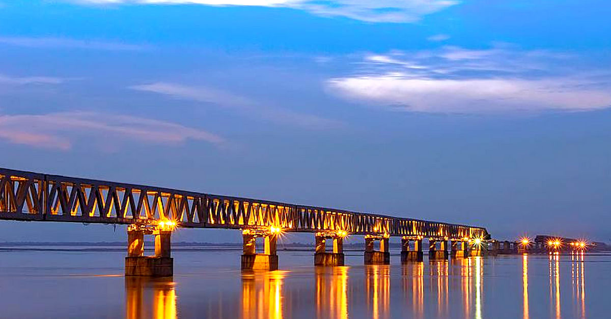 The Bogibeel Bridge is a construction marvel, by the Railways. Image Courtesy: Wikimedia Commons
