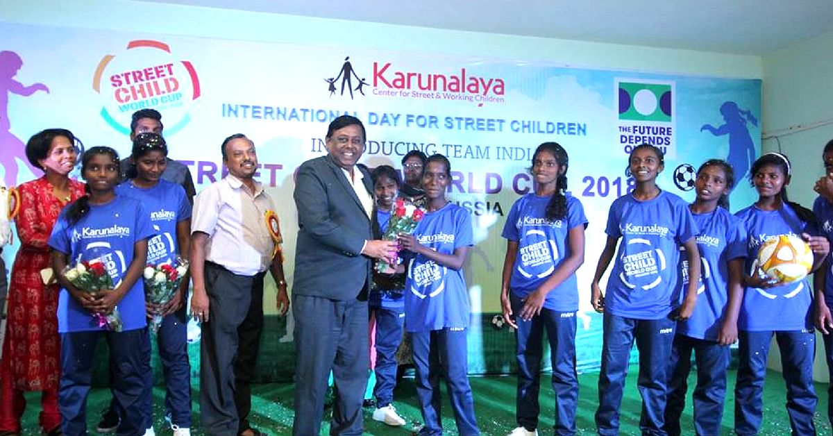 The Chennai squad, from Karunalaya, ready for the Street Child World Cup in Russia. Image Credit: Karunalaya