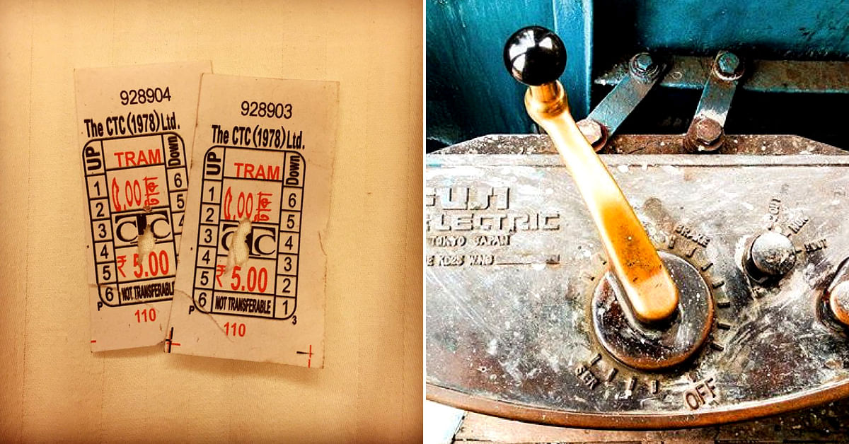 The Kolkata tramway ticket (left), and a tram car controller (right). Image Credit: Instagram (individual links)