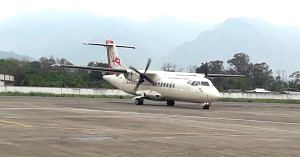 The first commercial flight at Pasighat airport-a historic moment for Arunachal Pradesh. Image Credit: Twitter