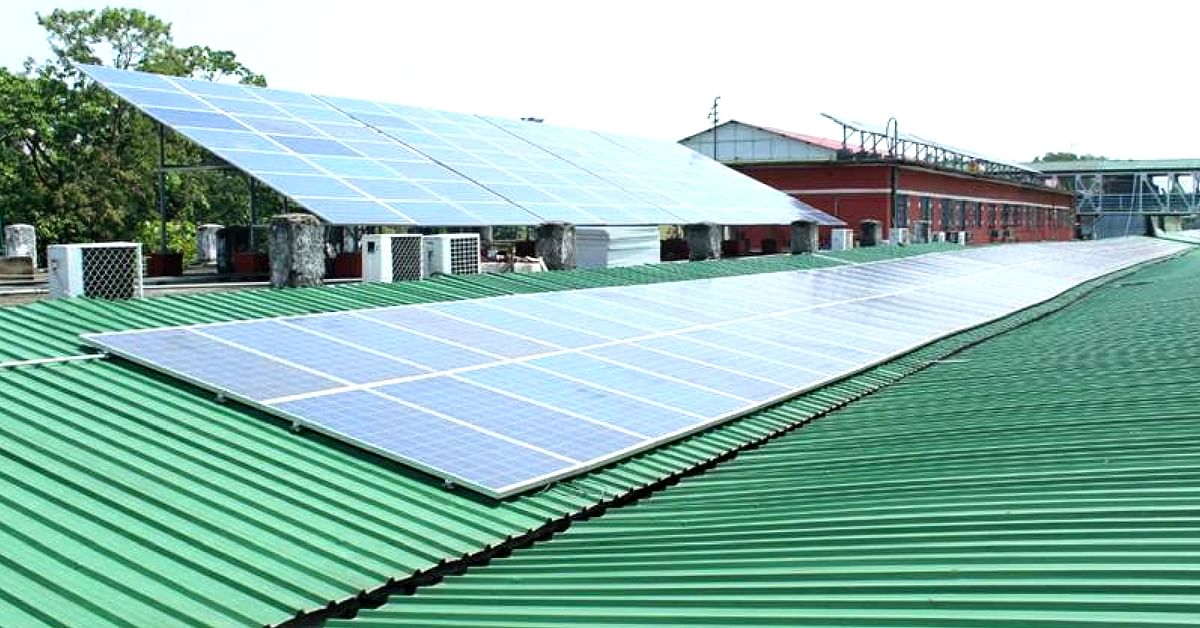The solar panels on the roof of Guwahati railway station are powering the entire terminal. Image Credit: Facebook.