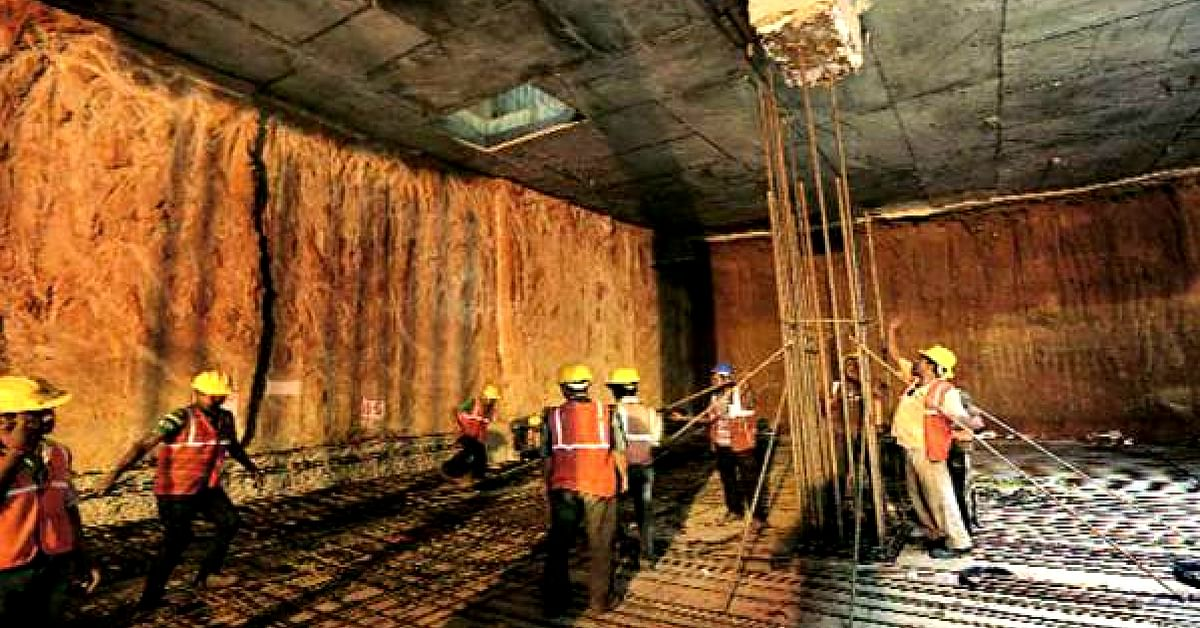 Workers excavating, to create the new section of Hauz Khas station, the Delhi Metro's deepest, with a depth of 29 metres. Image Credit; Twitter (The Indian Express)