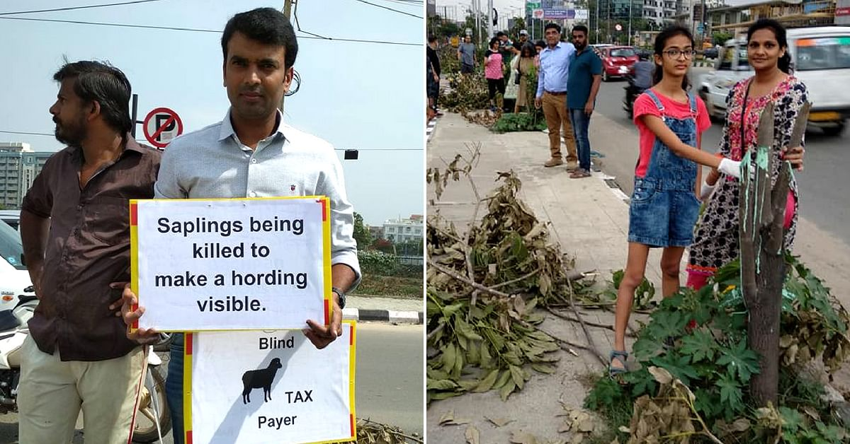24 Trees Were Cut for a Billboard but Bengaluru Folks Brought Them Back!