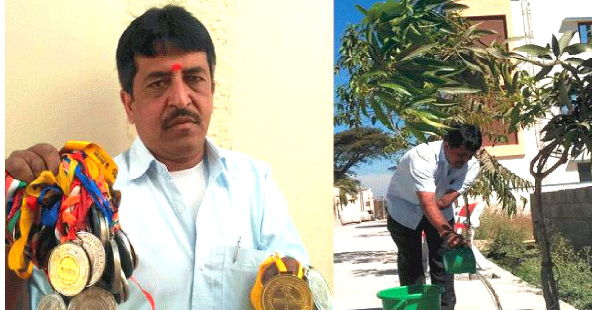 Beating the odds is a habit for Karnataka's T V Subramani, who wants to make his village green. Image Credit: Facebook