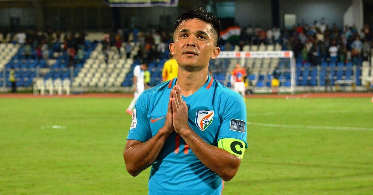 Sunil Chhetri thanking fans after the match. (Source: AIFF Media)