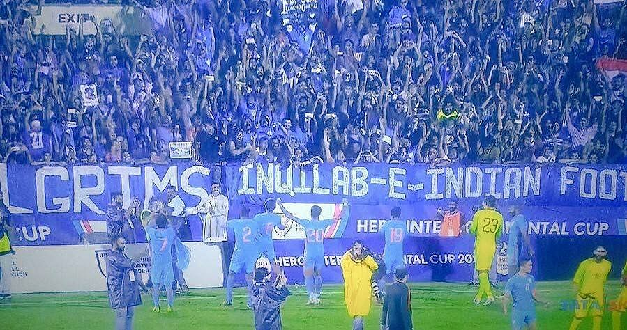 Goosebumps: Post match celebrations with the crowd. (Source: Sunil Chhetri/Facebook)