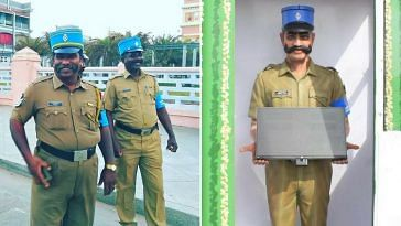 Constable Singham, as seen on the right, is a tourist kiosk, that will answer all your queries on Beach Road Pondicherry. Image Credit: Sarath A Pradeep and IPS Association.