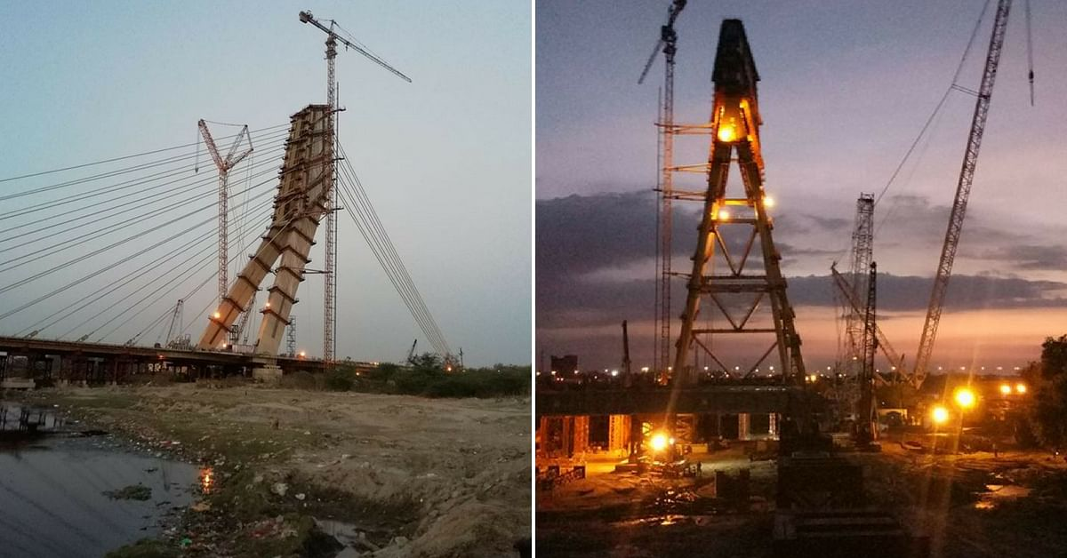 Different shades of Delhi's Signature Bridge, to be ready by October. Image Credit: Rabi Mondal (Left) & Md Anas (Right)