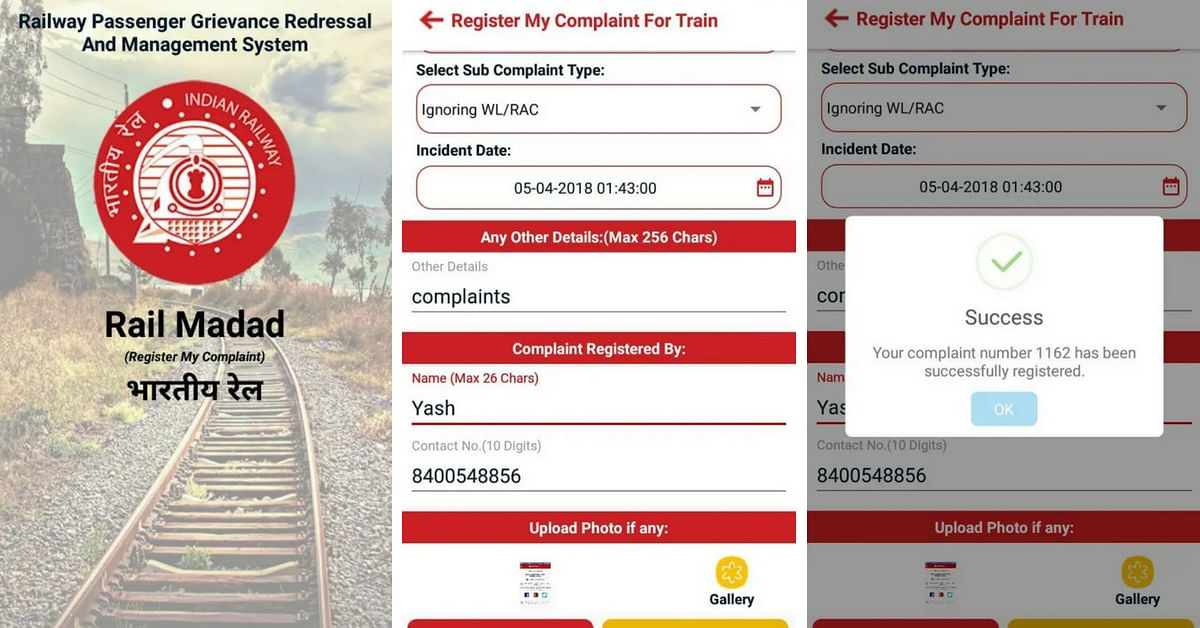 Got a complaint? The Rail Madad app will help you out! Image Credit: Rail Madad App
