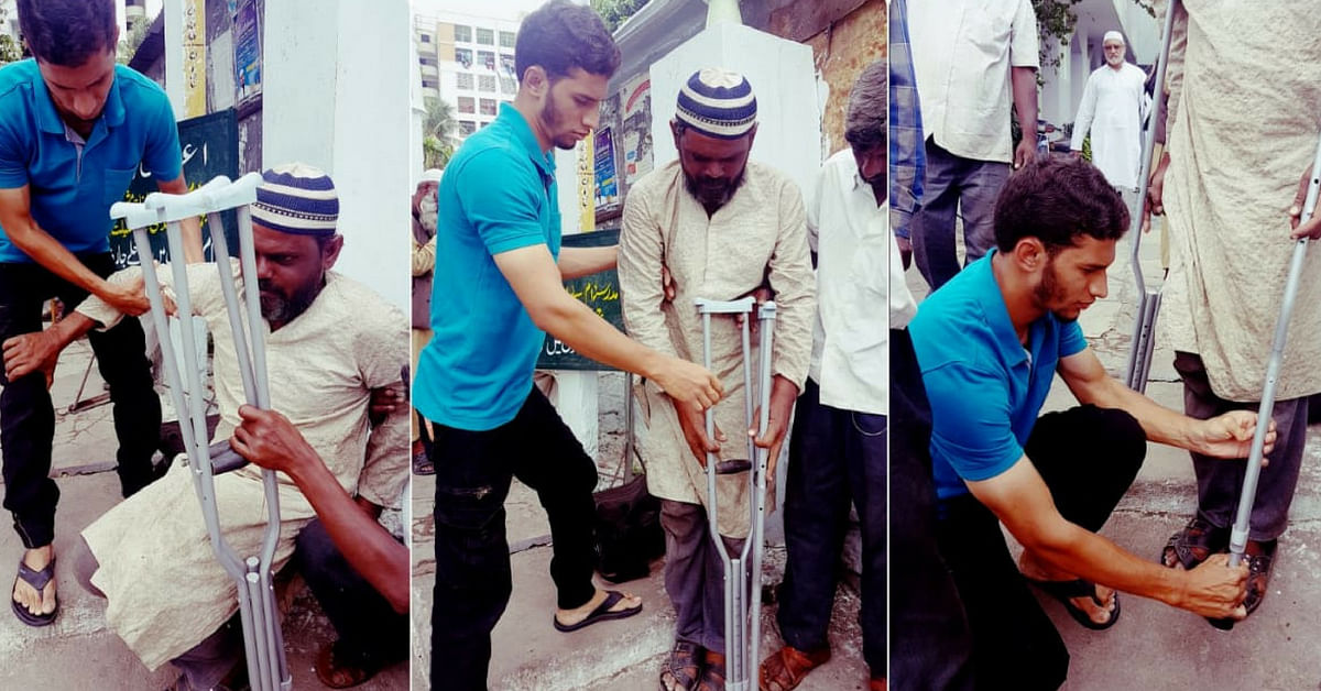 Hyderabad's Sujathullah also tends to the sick, helping them with medical care.