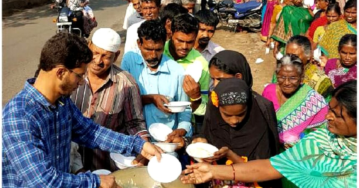 Hyderabad's Sujathullah without fail, turns up every day to tend to the hungry who are very happy to see him.