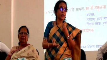 Shakuntala Kale addressing a seminar. (Source: YouTube/Ali Qureshi)