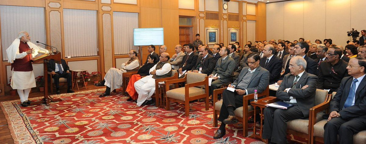 Prime Minister Narendra Modi meeting with officials at the higher echelons of the Indian bureaucracy. (Source: Twitter/Just Bureaucracy)