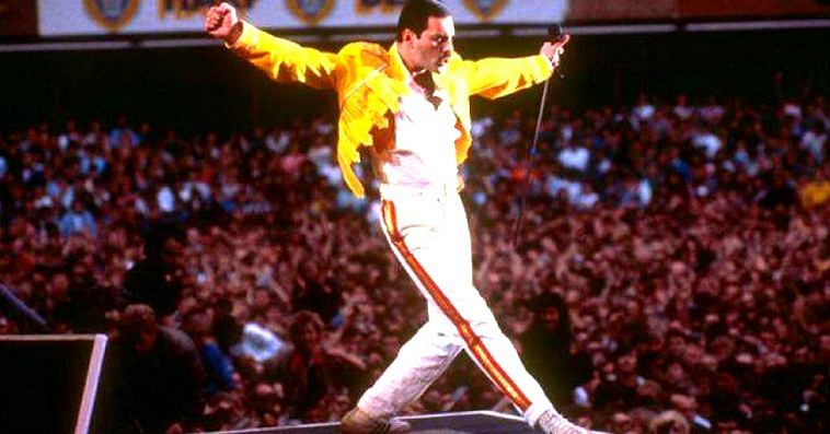 Queen will always be remembered for their performance at Wembley for 'Live Aid'. Image Credit: Freddie Mercury