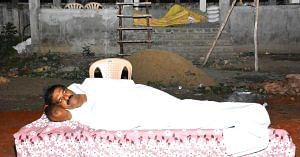 The Andhra MLA ate, bathed and slept in the crematorium for 2 nights, to dispel myths.Image Credit: Babu