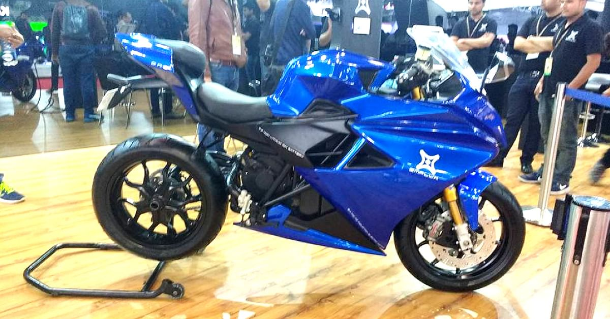 "The Emflux One electric superbike, that was showcased at the Noida Auto Expo 2018. Image Credit: <a href=""https://www.facebook.com/photo.php?fbid=2012699115412688&set=a.122990764383542.21975.100000178573127&type=3&theater"">Prashant Singh Shekhawat</a>"