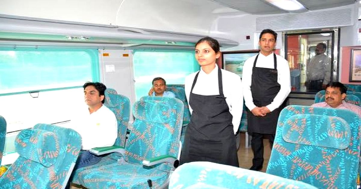 The Gatimaan Express has staff ob-board to serve food, like an airline. Image Credit:  Gatiman Express
