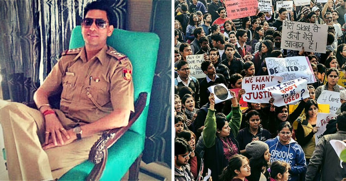 Inspector Anil Sharma (Left) and Nirbhaya protests (Right). (Source: Facebook)