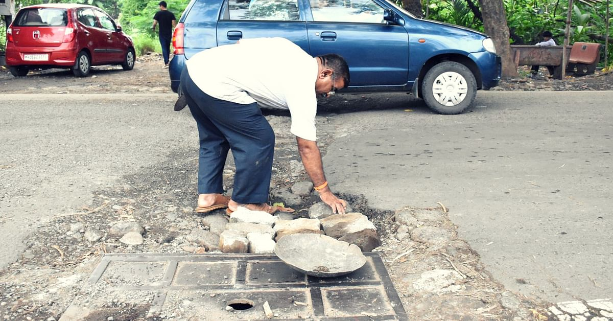 After Losing Son To Civic Apathy, Mumbaikar Fills Up 500+ Potholes on City Roads