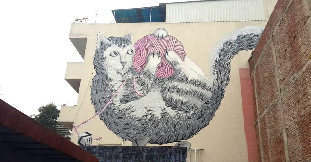 Anpu Varkey's art, at Shahpur Jat, Delhi, India.Graffiti Hunters