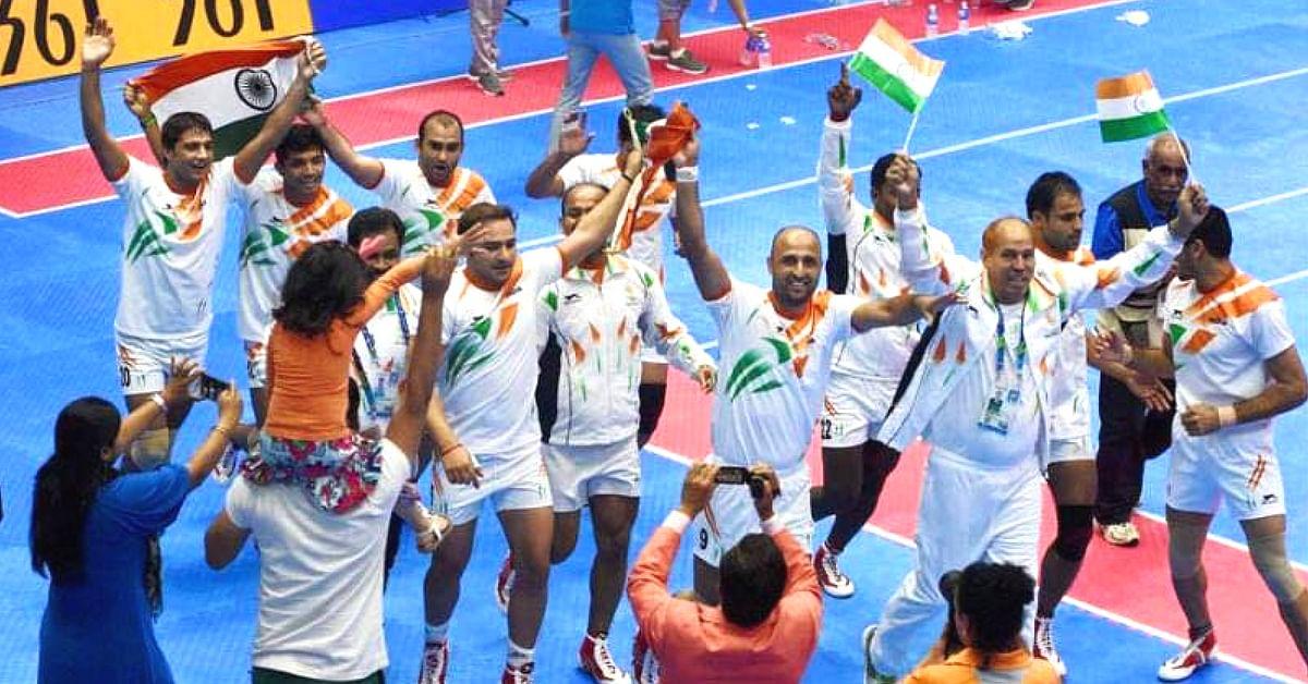 India's kabbadi team at the Kabbadi World Cup in 2016. Image Credit:- Harsh Viradiya