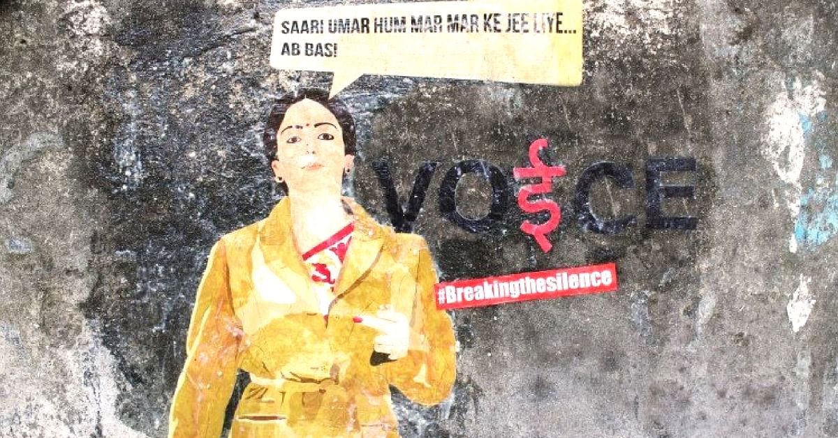 Jheel Goradia has a message to give, via her street art, in India.Image Credit: MeekPhilosophy