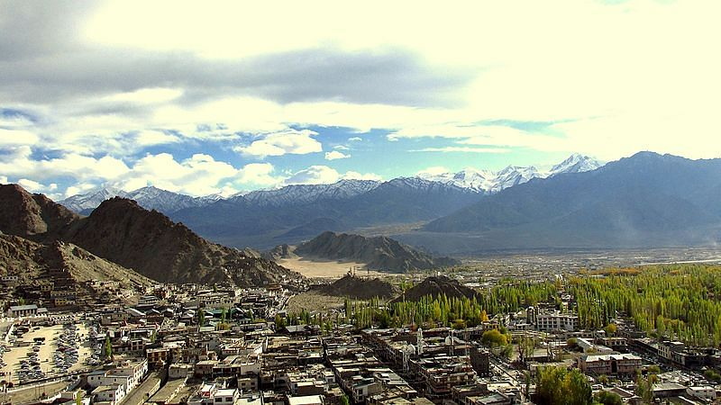 View of Leh town. The exponential rise in the number of hotels and guest houses does not augur well for the future. (Source: Wikimedia Commons)