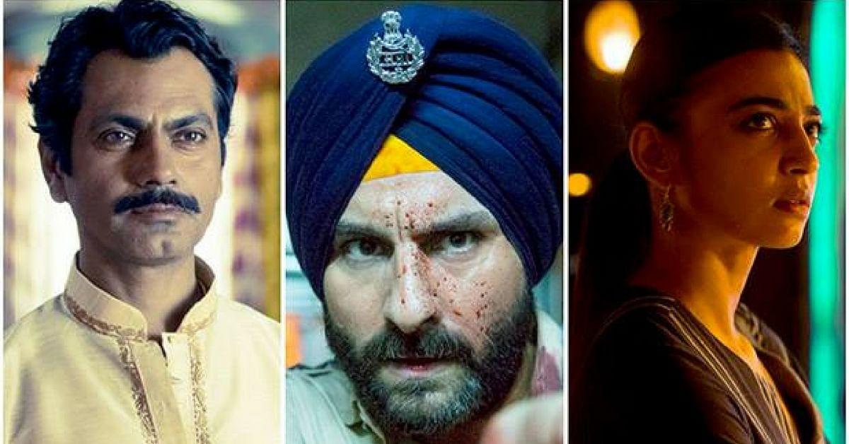 Nawazuddin Siddiqi, Saif Ali Khan and Radhika Apte in their respective characters. (Source: YouTube/Sacred Games Trailer)