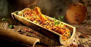 Sample bamboo biryani-a true Andhra delicacy. Image Credit: Broadway Restaurant - Gourmet Theatre