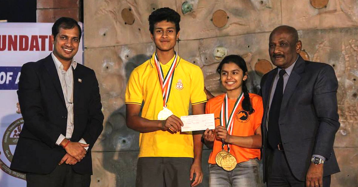 Bharat Pereira (2nd from left), and Shreya Nankar (3rd from left), are also part of the Indian sport climbing contingent at the Asian Games. Image Credit: National Sport Climbing Championship