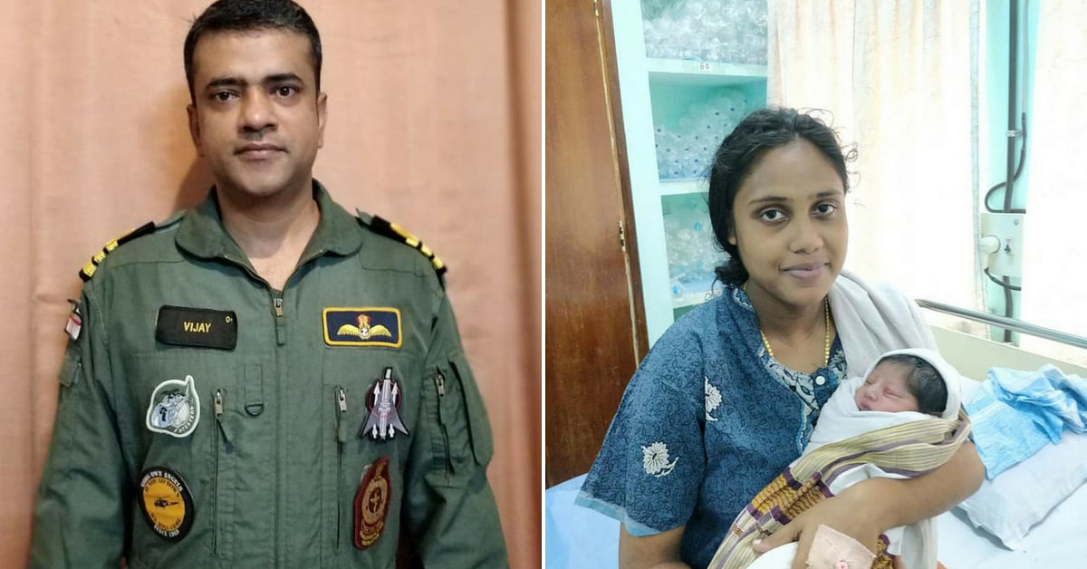 """Commander Vijay Varma (Left), rescued Sarjitha, who was pregnant and stranded in the Kerala floods. Image Credit: <a href=""""https://twitter.com/BDUTT/status/1031397241775374336"""">Barkha Dutt</a>"""