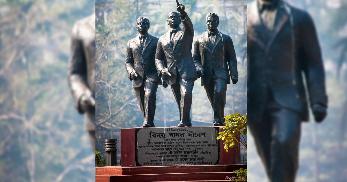 Dinesh, Badal and Benoy, have been immortalised thanks to their daring raid on the Writer's Building in Kolkata. Image Credit: Sujay25